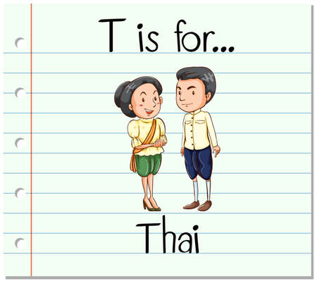 thai language: Flashcard letter T is for Thai illustration