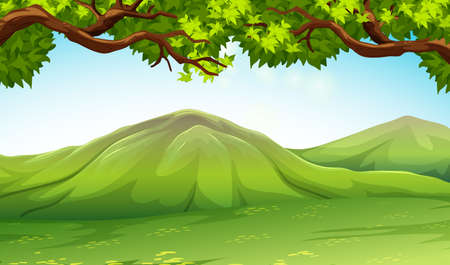 moutains: Scene with moutains and trees illustration