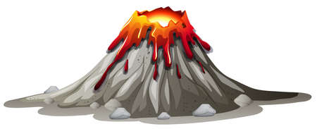 Volcano eruption with hot lava illustration Vettoriali