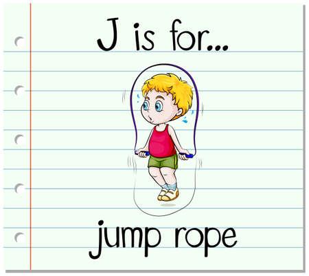 saltar la cuerda: Carta Flashcard J es para saltar la cuerda ilustración
