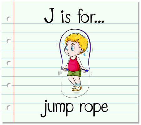 jump rope: Flashcard letter J is for jump rope illustration