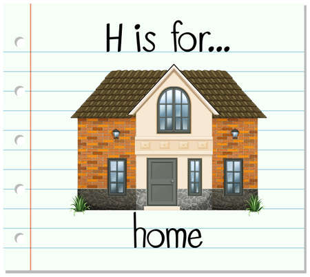 paper spell: Flashcard letter H is for house illustration