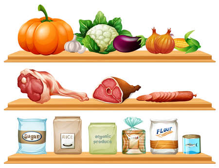 garlic bread: Food and ingredients on the shelf illustration