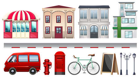 art at the building: Set of stores and transportations illustration Illustration