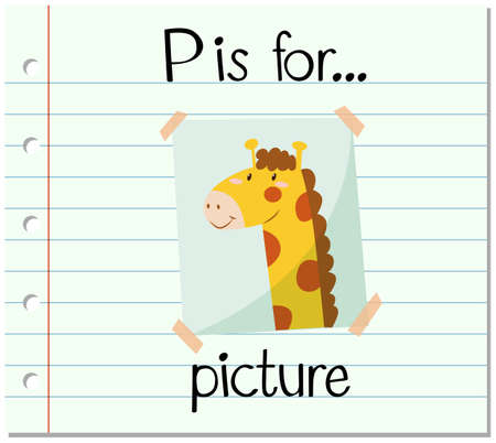 p illustration: Flashcard letter P is for picture illustration Illustration