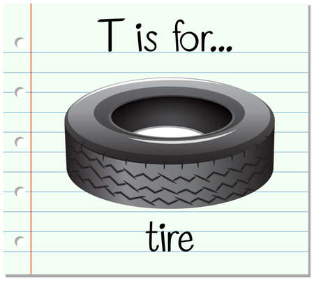 Flashcard letter T is for tire illustration Illustration