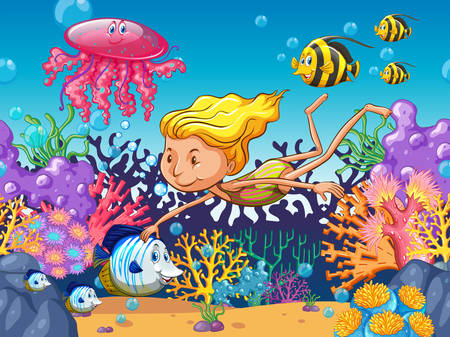sea fish: Girl swimming with sea animals underwater illustration