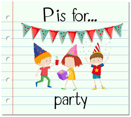 p illustration: Flashcard letter P is for party illustration