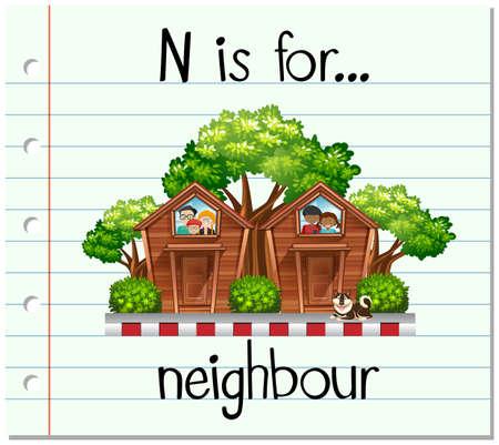 neighbour: Flashcard letter N is for neighbour illustration Illustration