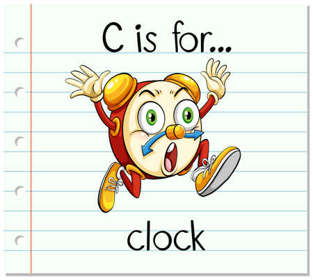 flash card: Flashcard letter C is for clock illustration