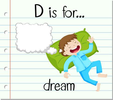 Flashcard letter D is for dream illustration Illustration