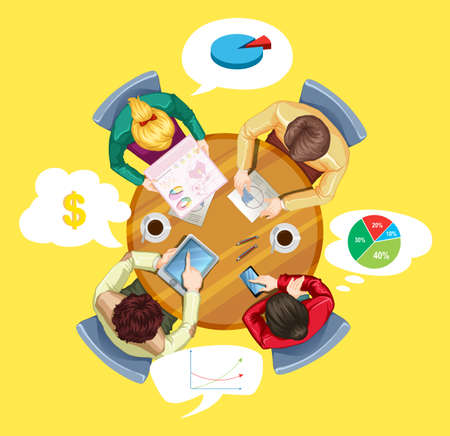 round table: People meeting at the round table illustration Illustration