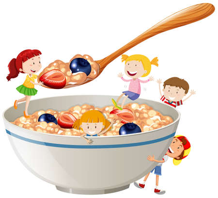 cereal: Kids and oatmeal with berries illustration Illustration