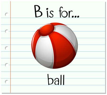flashes: Flashcard letter B is for ball illustration Illustration