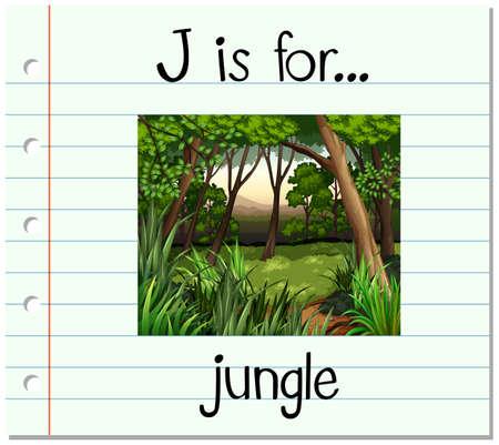 Flashcard letter J is for jungle illustration