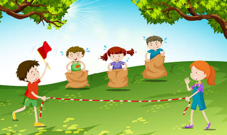 sacks: Children play jumping sack in the park illustration