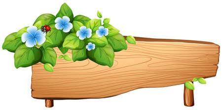 plywood: Sign design with flower and bug illustration Illustration