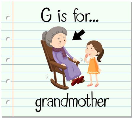 writing chair: Flashcard letter G grandmother illustration Illustration