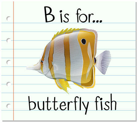 butterfly fish: Flashcard letter B is for butterfly fish illustration