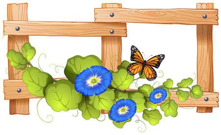 식물과 나비 그림 울타리 디자인 일러스트