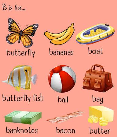 bacon art: Different words for alphabet B illustration