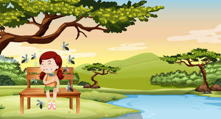 mosquitos: Mosquitos bitting little girl in the park illustration