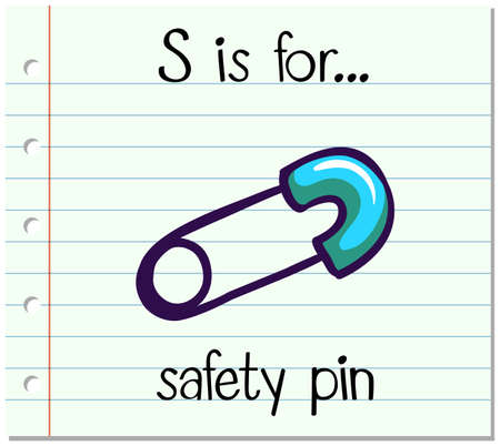 phonetic: Flashcard letter S is for safety pin illustration Illustration