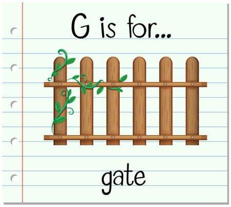 Flashcard letter G is for gate illustration