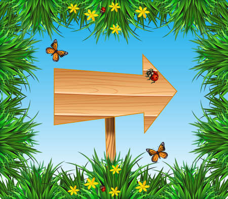 signal pole: Sign with insects and plants illustration