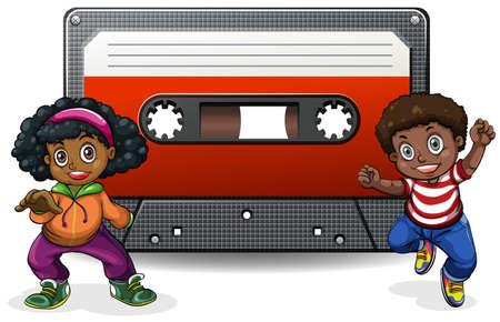 casette: Boy and girl with casette tape illustration