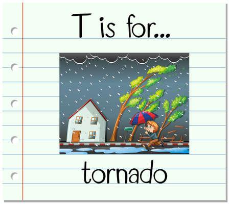 rainy season: Flashcard letter T is for tornado illustration Illustration