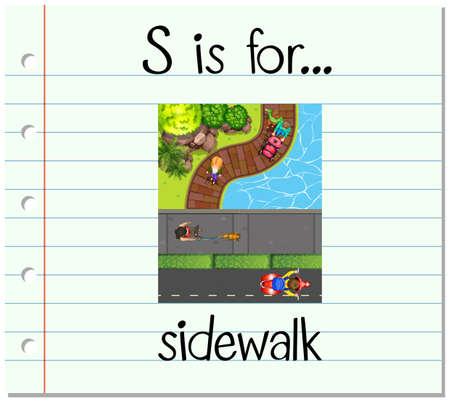 Flashcard letter S is for sidewalk illustration Illustration