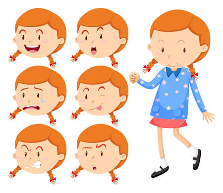 sad: Little girl with different faces illustration
