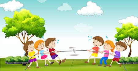 De kinderen spelen sleepboot van de oorlog in het park illustratie