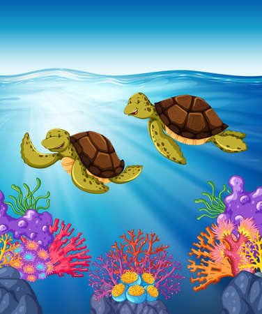 wild living: Two turtles swimming under the sea illustration
