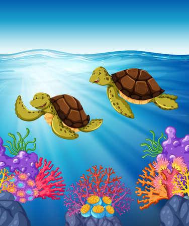 Dos tortugas nadando bajo el mar Ilustración