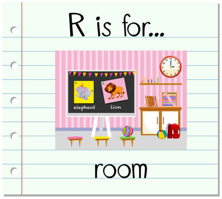 paper spell: Flashcard letter R is for room illustration