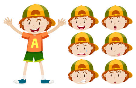 sad teenager: Boy with different facial expressions illustration Illustration