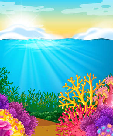under: Coral reef under the sea illustration