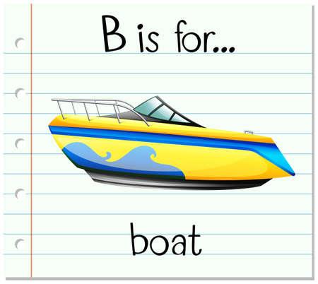 Flashcard letter B is for boat illustration Illustration