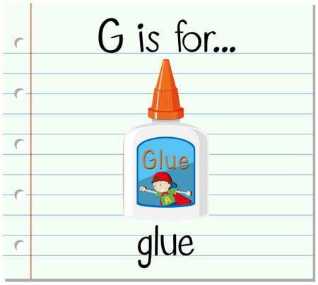 pegamento: letra G tarjeta de memoria flash es para la ilustración de pegamento
