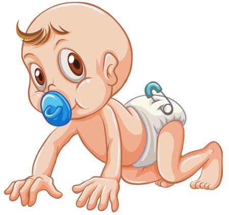 sucking: Little baby sucking on pacifier illustration