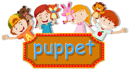 Children playing hand puppets illustration Ilustracja