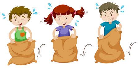 Three children jumping in sacks illustration Illustration