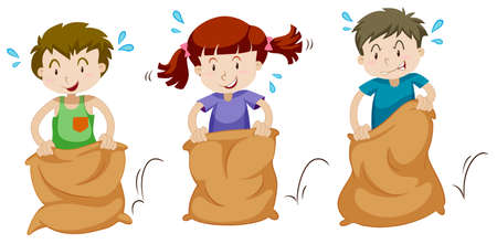 Three children jumping in sacks illustration