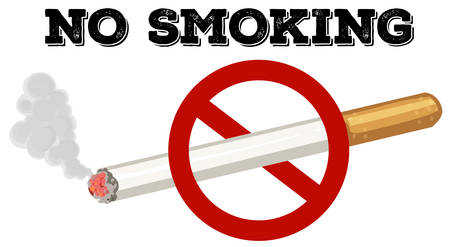 No smoking sign with text and picture illustration Illustration