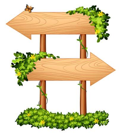cartelli in legno con illustrazione delle piante e bug