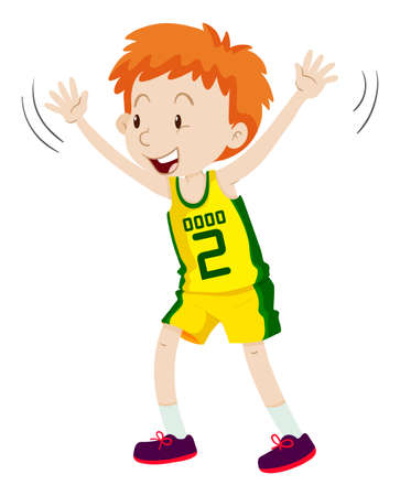 boy basketball: Little boy in basketball uniform illustration