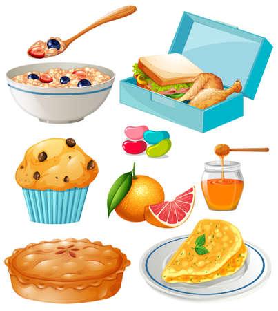almuerzo: Diferentes tipos de comida y postre ilustración Vectores
