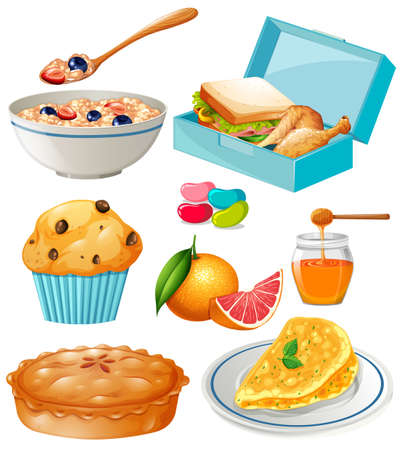 lunch box: Different kind of food and dessert illustration Illustration